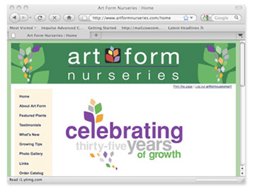 Art Form Nurseries website graphic